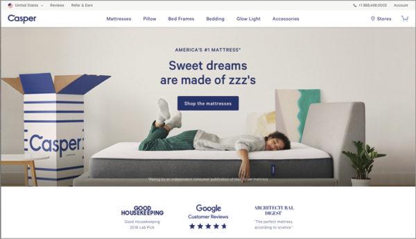 アメリカの寝具マットレスメーカーのcasper社のホームページのイメージ