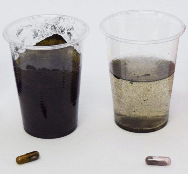 ヘム鉄のサプリメントが製造上の問題から酸化鉄に変わっていることを調べるために実験の写真